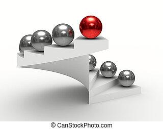 liderança, conceito, branco, experiência., isolado, 3d,...