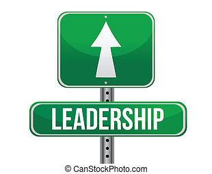 liderança, desenho, estrada, ilustração, sinal