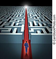 liderança, e, negócio, visão