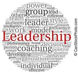 liderança, em, palavra, tag, nuvem, branco