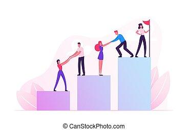 liderança, mapa, vermelho, hoisted, teammates, vetorial, líder, equipe, caricatura, escalando, levantar, puxar, conceito, homens negócios, pico, bandeira, negócio, trabalho equipe, ilustração, apartamento, cima, top., coluna, mulheres negócios