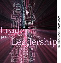 liderança, palavra, nuvem, glowing