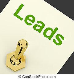 liderar, meios, geração, vendas, chumbos, interruptor