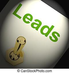 liderar, meios, geração, vendas, chumbos, interruptor, ou