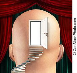 liderar, mente, escadas, porta, cima