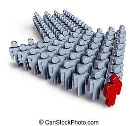liderazgo, con, equipo negocio