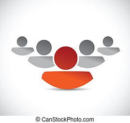 liderazgo, equipo negocio, ilustración, diseño