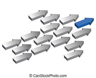 liderazgo, flechas