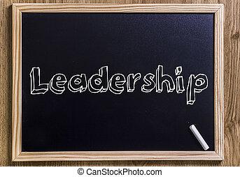 liderazgo, -, nuevo, pizarra, con, 3d, contorneado, texto