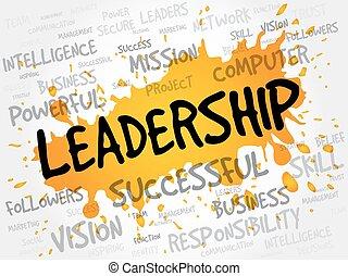 liderazgo, palabra, nube