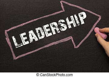 liderazgo, -, pizarra, con, flecha, en, negro