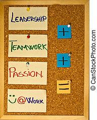 liderazgo, trabajo en equipo, y, pasión