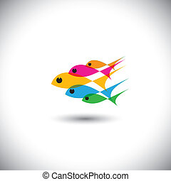 liderazgo, vector, concepto, -, colorido, equipo, de, peces,...
