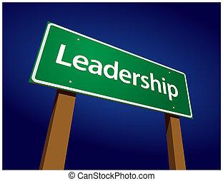 liderazgo, verde, camino, ilustración, señal