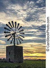 lidový větrný mlýn, do, mallorca, balearic ostrov