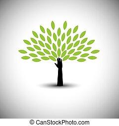 lidská bytost hráč, i kdy, strom, ikona, s, mladický list, -, eco, pojem, vector.