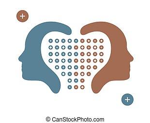 lidský, hlavy, nakreslit z profilu