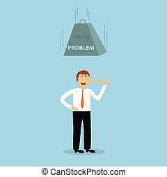 lie business man with long nose die with problem, illustration, vector