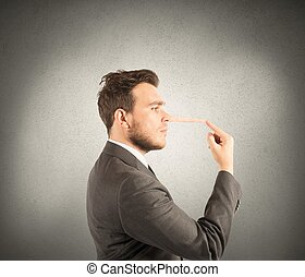Lie - Concept of lie with businessman with long nose