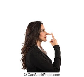 Lie - Concept of lie with businesswoman with long nose