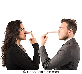 Lie - Concept of lie with couple with long nose
