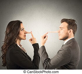 Concept of lie with couple with long nose