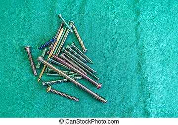lie, drapieren, titan, chirurgisch, spannweite, grün, ...