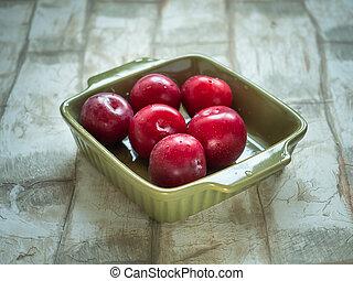 lie, reif, platte, licht, tief, olive, tisch, pflaumen, rotes