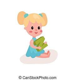 lieb, blond, kleines mädchen, sitzen boden, spielende , mit, buchstabe n, kind, lernen, durch, spaß, und, spielen, bunte, karikatur, vektor, abbildung