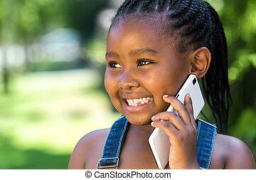 lieb, gespräch, telefon., afrikanisch, m�dchen, haben, klug