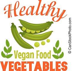 lieb, grüne erbse, gemüse, abzeichen, für, lebensmittel,...