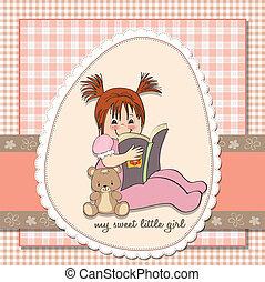 lieb, kleines mädchen, lesen buches