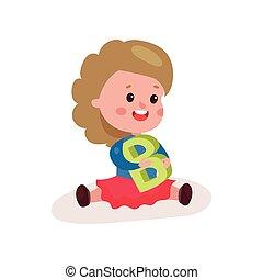 lieb, kleines mädchen, sitzen boden, spielende , mit, buchstabe b, kind, lernen, durch, spaß, und, spielen, bunte, karikatur, vektor, abbildung