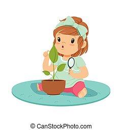 lieb, kleines mädchen, sitzen boden, und, untersuchen, a, pflanze, durch, a, vergrößerungsglas, lektion, von, botanik, in, kindergarten, karikatur, vektor, abbildung