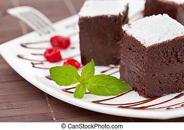 lieb, kuchen, oder, brownies, kakau
