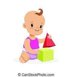 lieb, lächelnden baby, sitzen, und, spielende , mit, spielzeug, würfel, bunte, karikatur, zeichen, vektor, abbildung