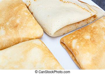 lieb, pfannkuchen, weiß, platte