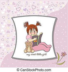 lieb, wenig, Buch, m�dchen, lesende