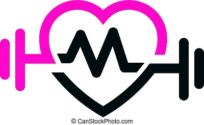 liebe, anfall, mit, puls, logo, vektor, buchstabe m