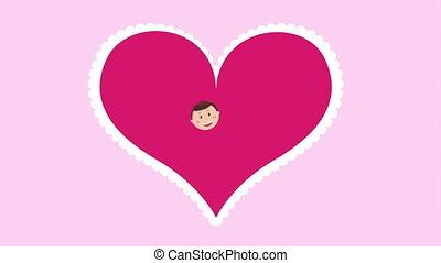 liebe, animation, video, design, familie