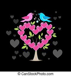 liebe, baum, zwei vögel