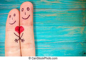 liebe, begriff, mit, zwei finger