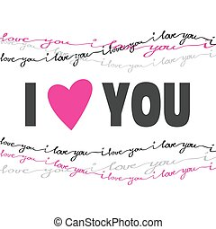 liebe, card., typographie, valentine, gezeichnet, hand, ...