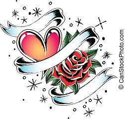 liebe, emblem, geschenkband
