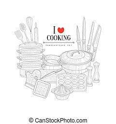 liebe, für, kochen, hand, gezeichnet, realistisch, skizze
