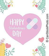 liebe, glücklich, herz, reizend, verbände, traurige , tag, hilfe, valentines, zuerst
