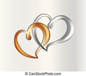liebe, gold, symbol, jubiläum, luxus, hochzeitsherzen