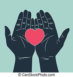 liebe, hand