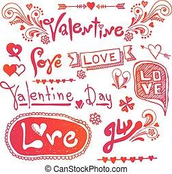 liebe, &, herzen, doodles, design, elemen