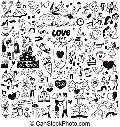 liebe, hochzeitstag, -, doodles, satz